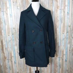 Massimo dutti wool pea coat teal